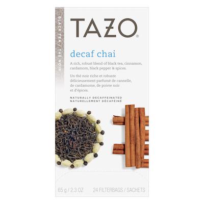 Tazo Thé chai décaféiné, 24sachets de thé noir, ensemble de 6