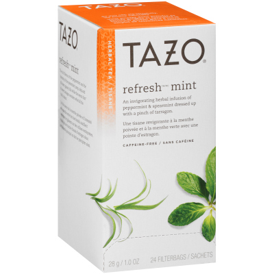 Tazo® Tisane à la menthe Refresh Mint, 24 sachets, ensemble de 6 -