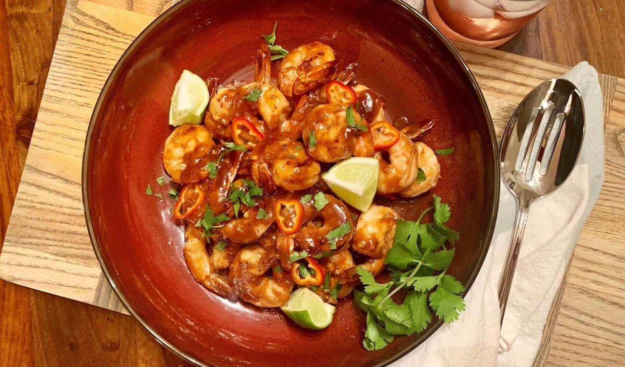 Crevettes Glacées au Miel et au Piment Noirci – recette