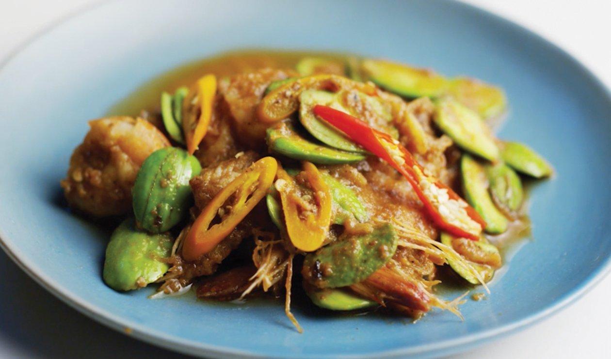 Crevettes Sautées aux Haricots Amers – recette