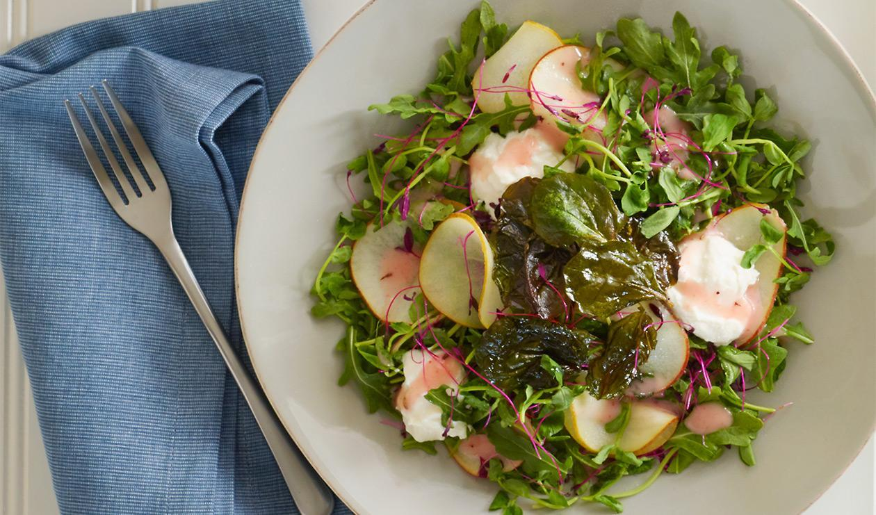 Salade de poire avec vinaigrette pamplemousse et lavande – recette