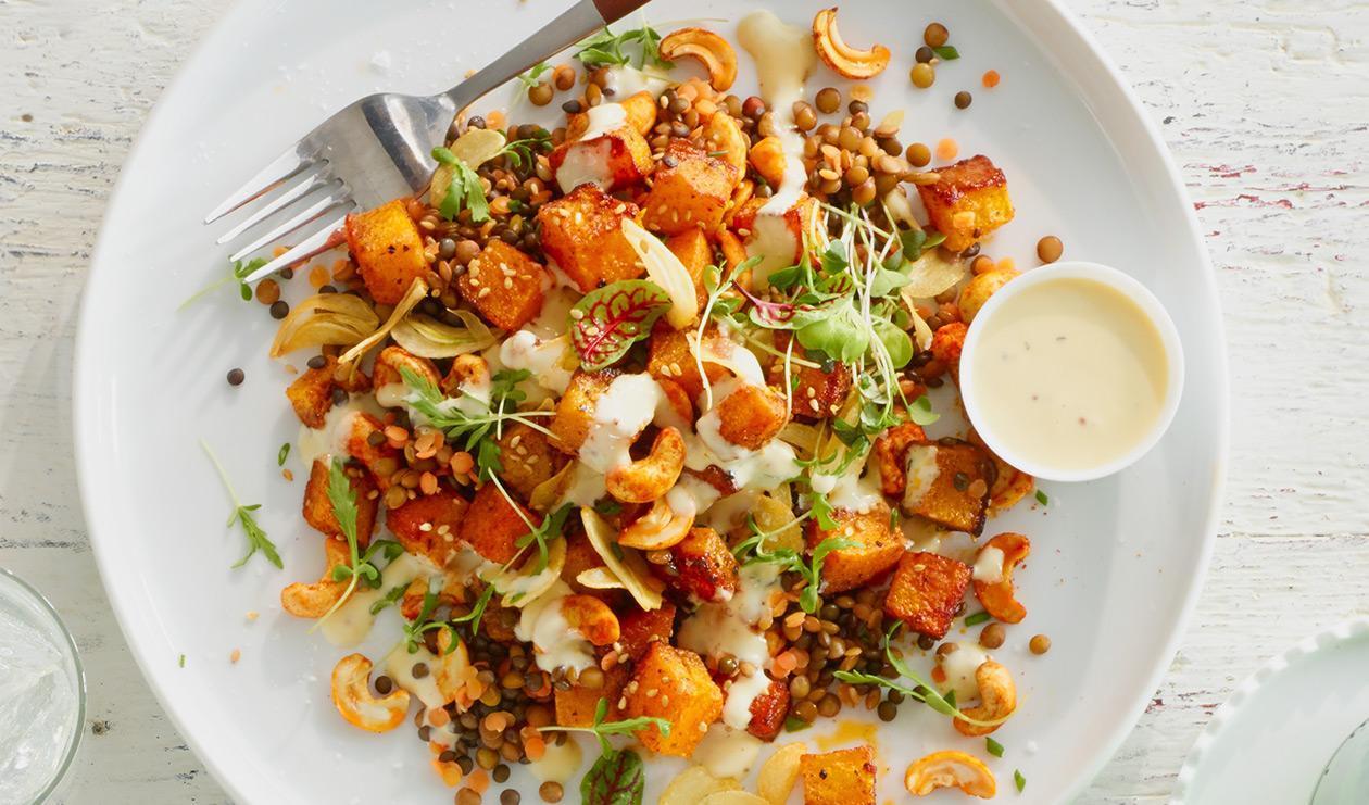 Salade épicée aux lentilles et courge butternut – recette