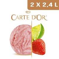 Carte d'Or Sorbets plein fruit Citron Vert & Douceur de Fraises - 2,4 L