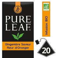 Pure Leaf BIO Infusion Gingembre saveur Fleur d'Oranger 20 sachets pyramides