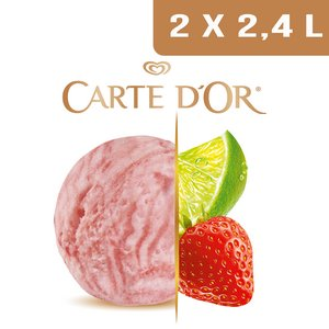Carte d'Or Sorbets plein fruit Citron Vert & Douceur de Fraises - 2,4 L  -