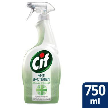 CIF Spray Nettoyant Antibactérien & Brillance Multi-Usages 12x750ml -