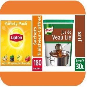 Kit de bienvenue pour Noël - 1 Coffret thé Lipton 180 sachets & 1 boîte de Jus de Veau Lié - Fidéli'Chef