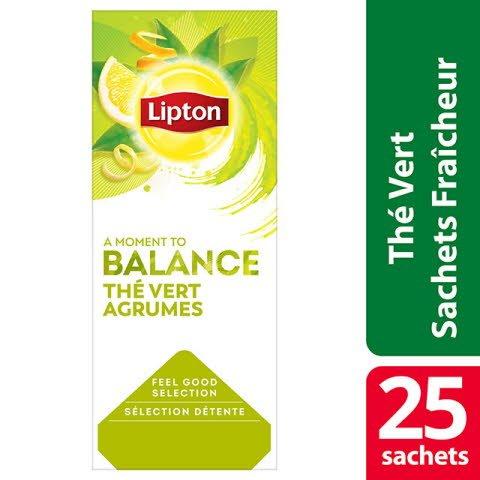 Lipton Feel Good Selection Thé Vert Agrumes 25 sachets fraîcheur -