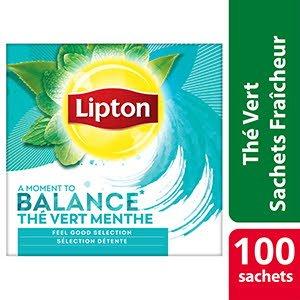 Lipton Feel Good Selection Thé Vert Menthe 100 sachets fraîcheur - Lipton sachets fraîcheur, une gamme unique pour chaque moment de la journée.