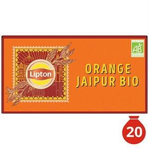Lipton Thé Noir Bio Orange Jaipur 20 Sachets Mousseline -