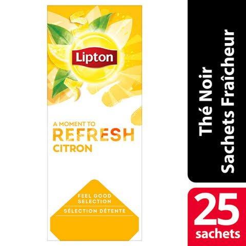 Lipton Thé Noir Citron 25 Sachets Fraîcheur