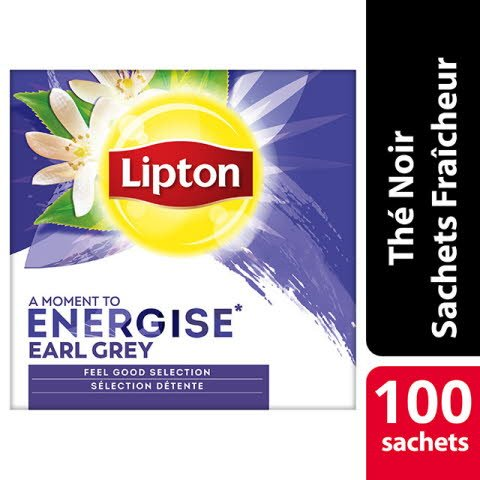 Lipton Thé noir Earl Grey 100 sachets fraîcheur