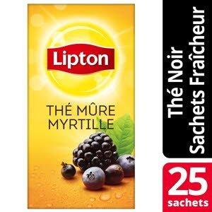 Lipton Thé noir Mûre Myrtille 25 sachets fraîcheur