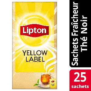Lipton Thé noir Yellow Label 25 sachets fraîcheur