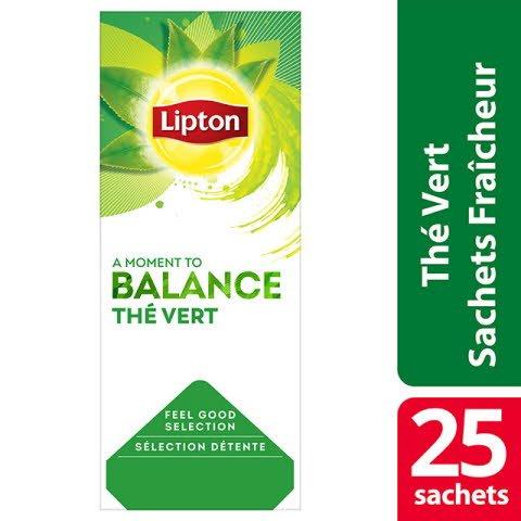 Lipton Thé Vert Citron 25 sachets fraîcheur -