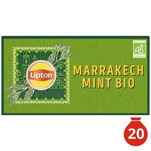 Lipton Thé Vert Marrakech Mint 20 Sachets Mousseline Bio -
