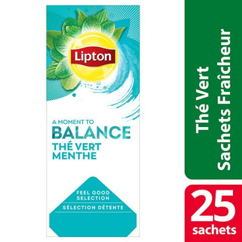 Lipton Thé vert Menthe 25 sachets fraîcheur