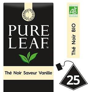 Pure Leaf BIO Thé Noir saveur Vanille 25 sachets pyramides -