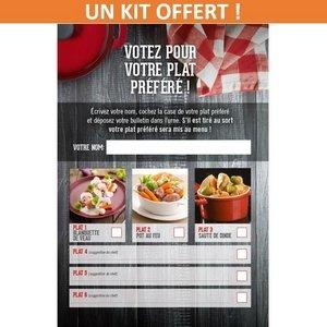 """Un kit d'animation """"Votez pour votre plat préféré"""" offert pour votre établissement ! -"""