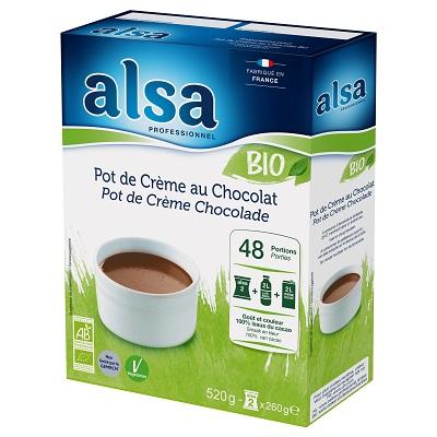 Alsa Pot de Crème au Chocolat Bio 520g 48 portions - Les préparations bio alsa permettent de réaliser rapidement et facilement de savoureux desserts bio