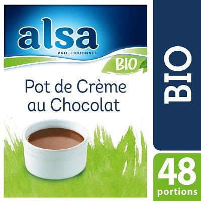 Alsa Pot de Crème au Chocolat Bio 520g 48 portions - Le Pot de Crème au Chocolat Bio alsa me permet de réaliser facilement de savoureux desserts bio