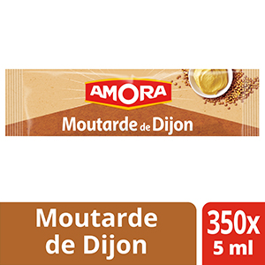 Amora Moutarde de Dijon - Carton de 350 dosettes de 5 ml - La Moutarde Amora®, idéale pour apporter finesse et piquant à chacun de vos plats.