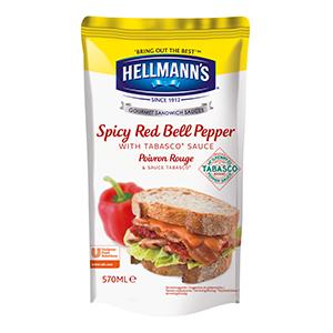 Hellmann's Sauce Sandwich et Burger Poivron Rouge & Tabasco® 570ml - Nos sauces sont faites avec des ingrédients naturels tels du poivron rouge et du Tabasco®