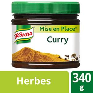 Knorr Mise en place Curry 340g - Les Mise en Place Knorr sont conçues avec des produits de qualité, qui restituent tout le bouquet aromatique des herbes fraiches.