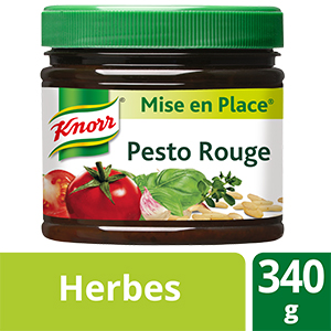 Knorr Mise en place Pesto Rouge 340g - Les Mise en Place Knorr sont conçues avec des produits de qualité, qui restituent tout le bouquet aromatique des herbes fraiches.