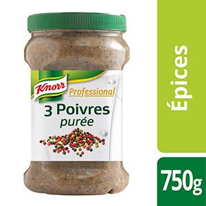 Knorr Professional Purée de 3 Poivres Pot 750g - La nouvelle alternative au poivre traditionnel : un mélange de 3 poivres en purée, prêt à l'emploi.