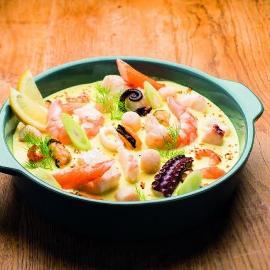 Cassolette de fruits de mer au curry ( Unikit )