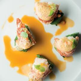 Fricassée de homard, artichauts et épinards