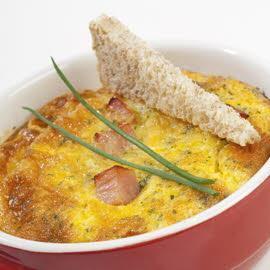 Mousse d'oeuf au four et au jambon persillé