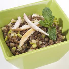 Salade de lentilles au poulet et huile de pomme