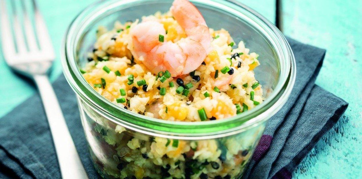 Caviar de céleri, oeufs de lump et crevettes aux agrumes  – Recette