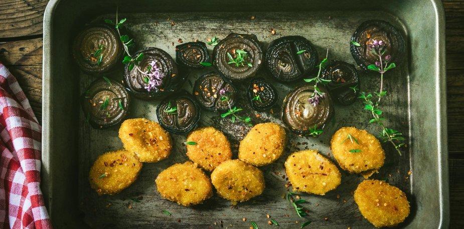 Mini panés et salade de mâche aux aubergines – Recette