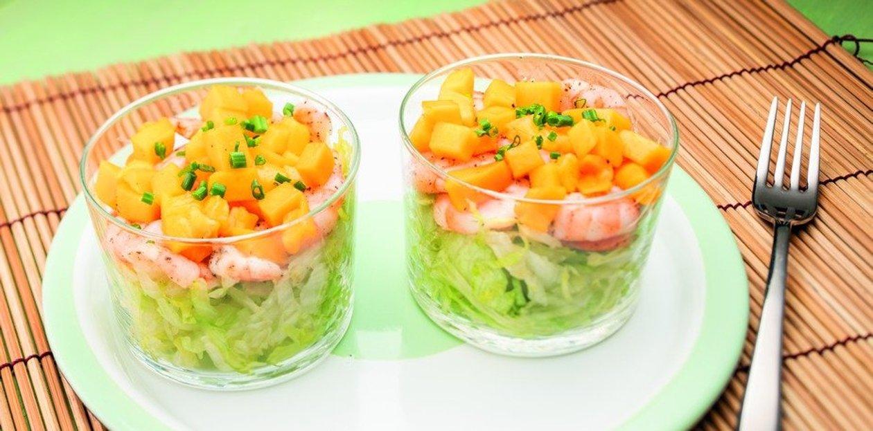 Salade de crevettes au Thé Pêche et Mangue  – Recette