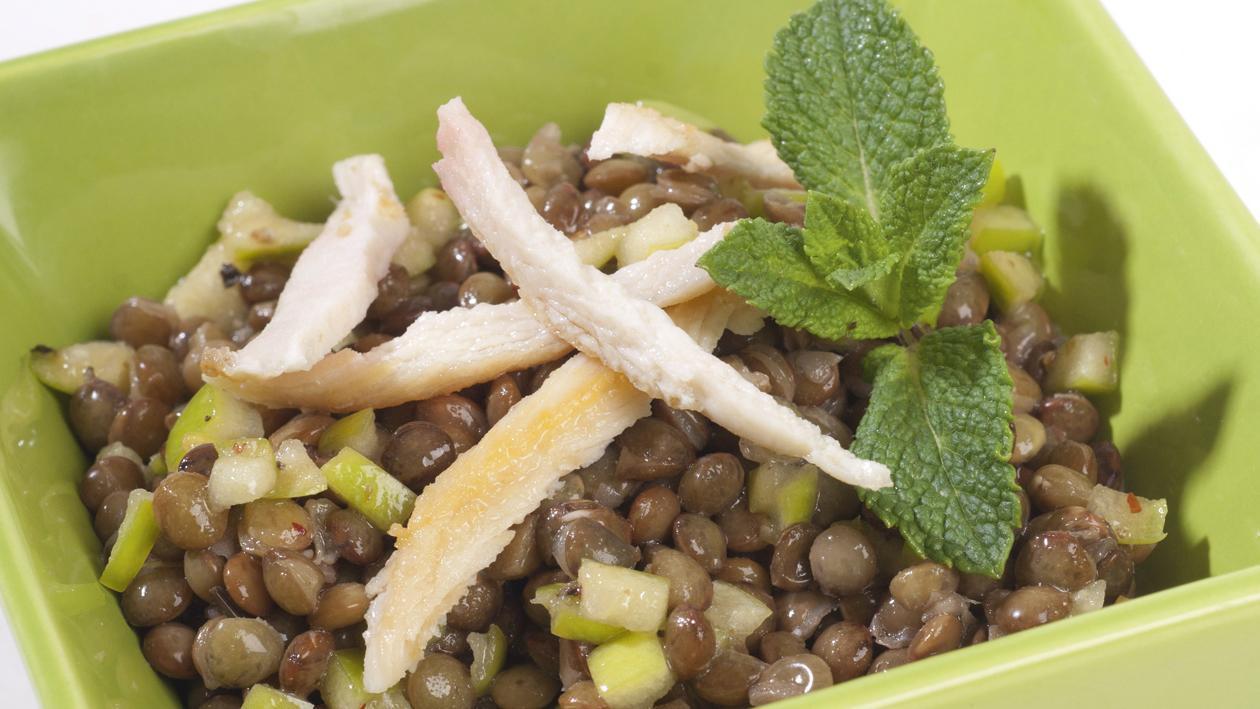 Salade de lentilles au poulet et huile de pomme – Recette