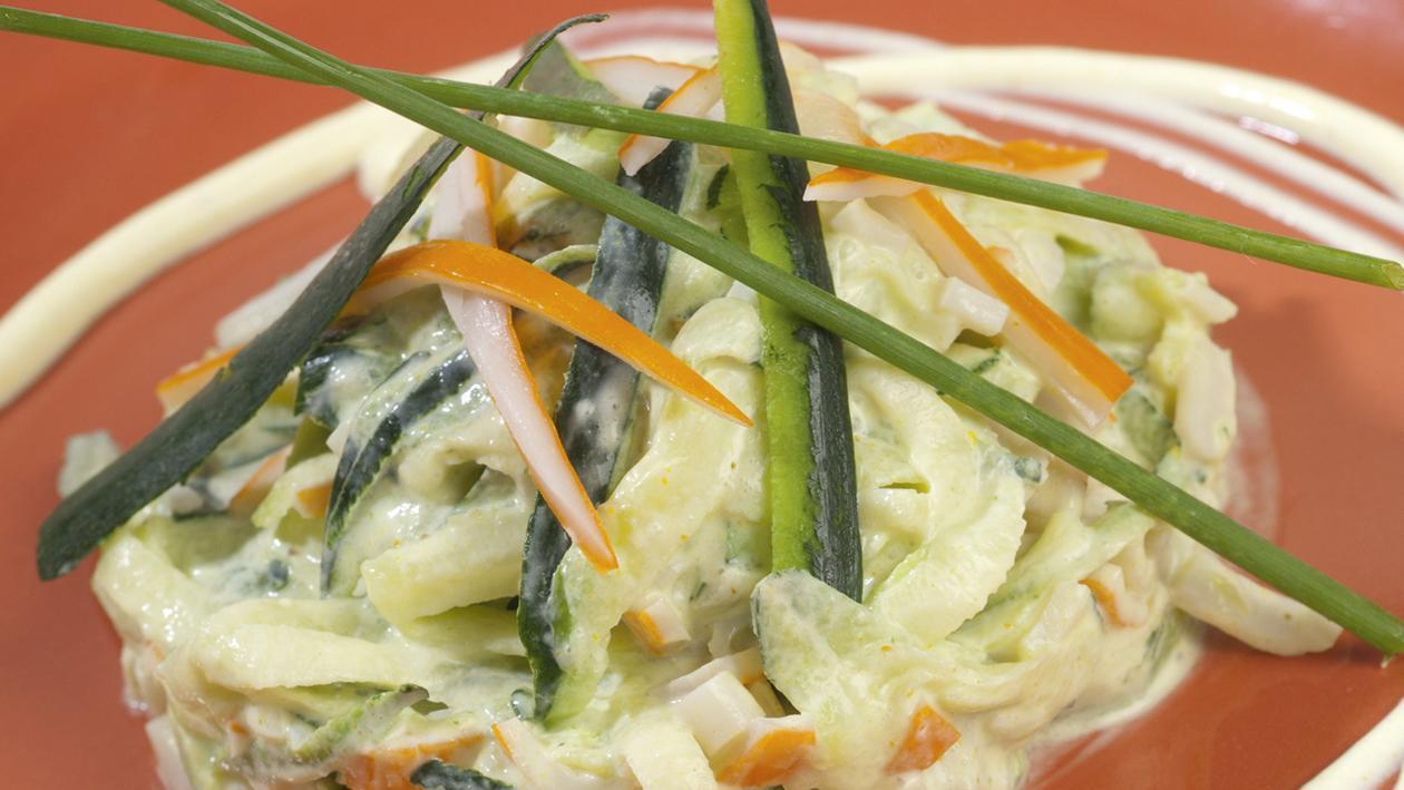 Tartare de courgettes et surimi, petite sauce au curry et fromage blanc – Recette