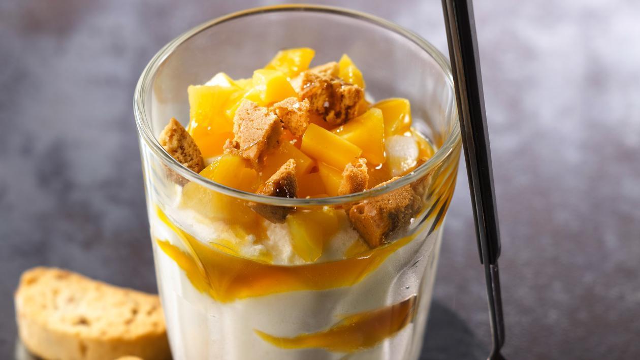 Verrine mangue chocolat blanc et croustillant de canistrelli – Recette