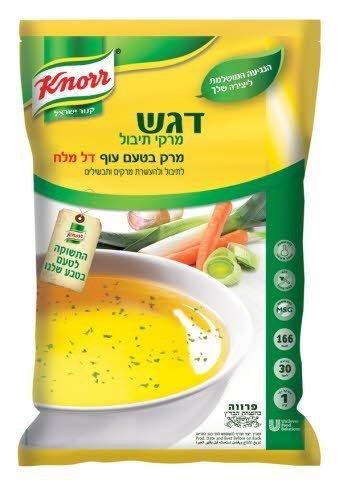 """דגש מרקי תיבול מרק טעם עוף דל מלח קנור 1 ק""""ג -"""