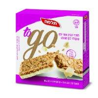 חטיף דגנים אפוי עם שוקולד לבן to go תלמה מארז 6 יח' 23 גרם -