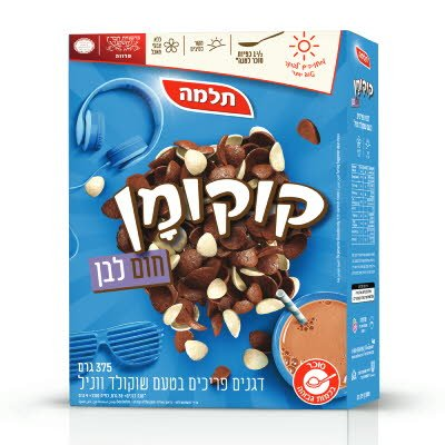 קוקומן חום לבן בטעם שוקולד ווניל תלמה 375 גרם -