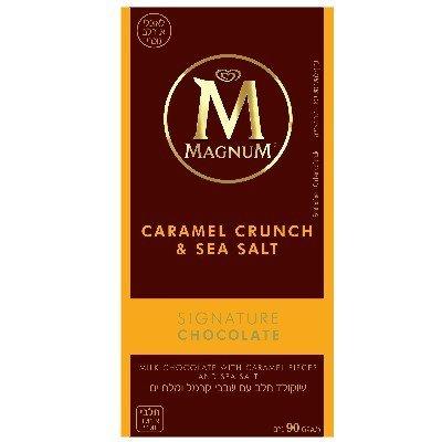 שוקולד חלב עם שבבי קרמל ומלח ים מגנום 90 גרם -