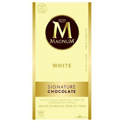 שוקולד לבן עם נגיעות וניל מדגסקר מגנום 90 גרם -