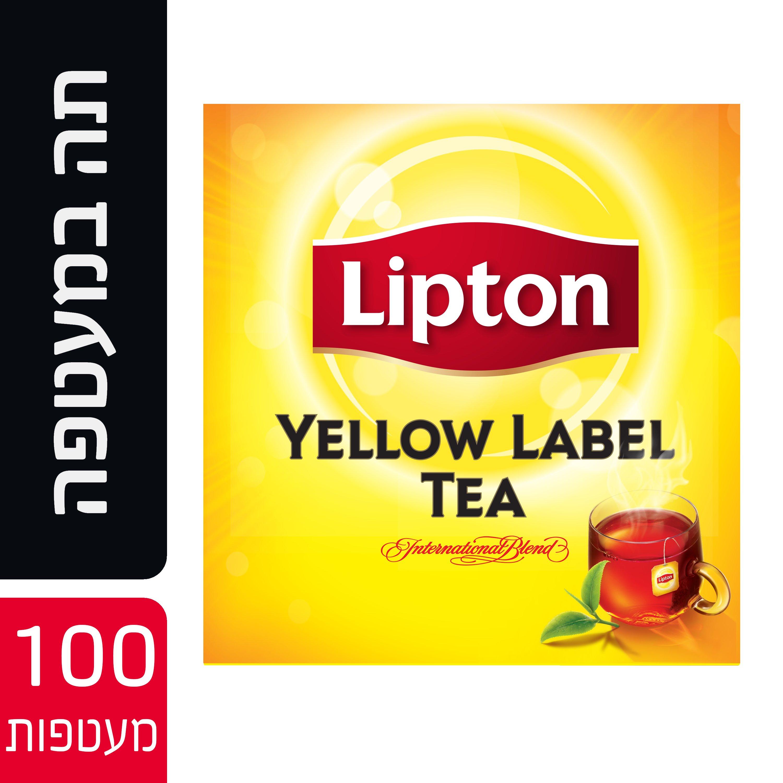 תה שחור ילו לייבל במעטפה ליפטון 100 יחידות