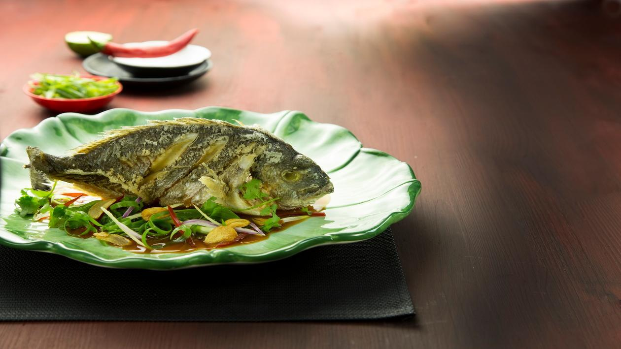 דניס מטוגן ברוטב צ'ילי וסויה סיני – פוקי בול מתכון להכנת קערת פוקי, מזון רחוב של הוואי אצלכם בצלחת > מתכוני השראה לשפים