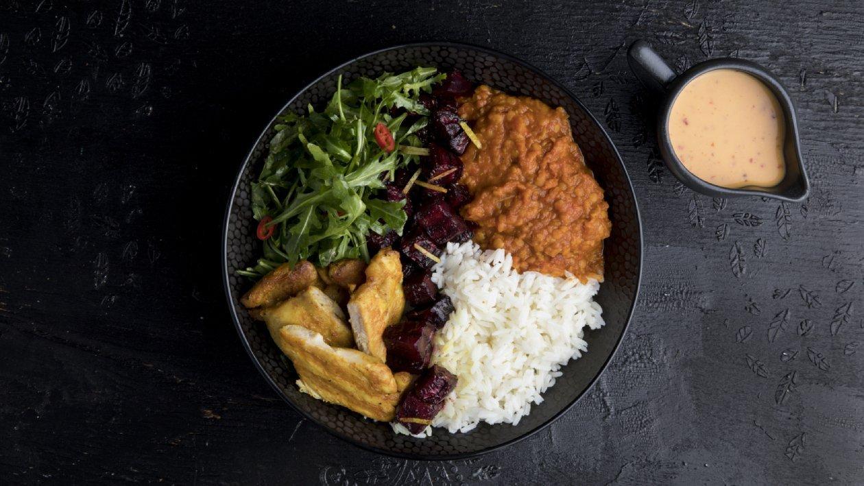 ניו דלהי בול עם תבשיל דאל, אורז וסלקים צלויים – מתכון