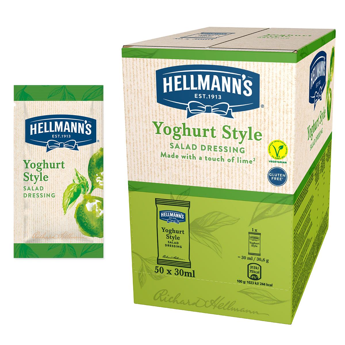Salatni preljev s okusom jogurta i limete - Hellmann's salatni preljevi, idealni za poboljšanje okusa vaših salata u prigodnom porcijskom pakiranju.