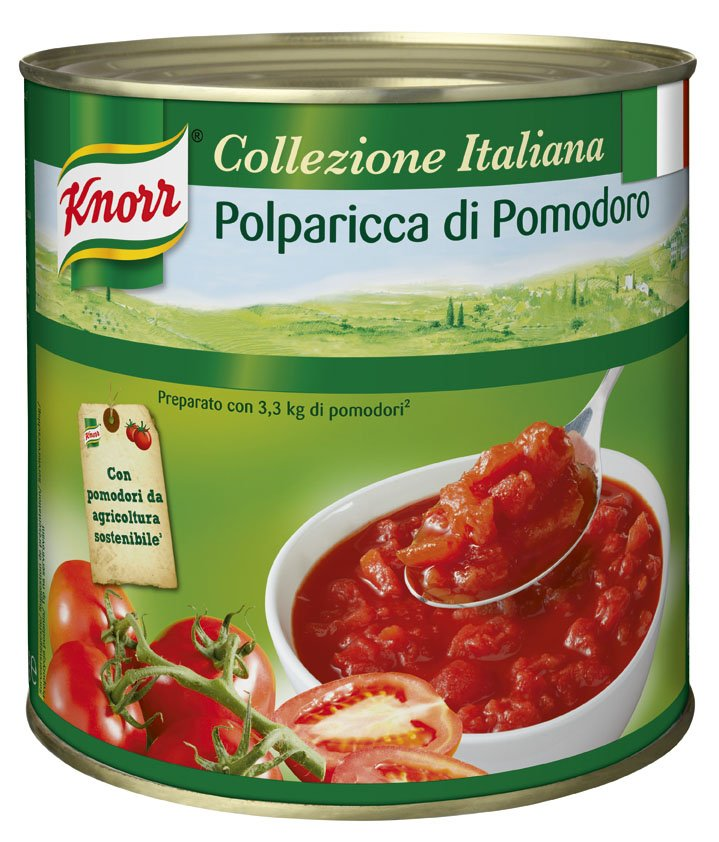 KNORR Collezione Italiana Hámozott kockázott paradicsom konzerv 2,55 kg -